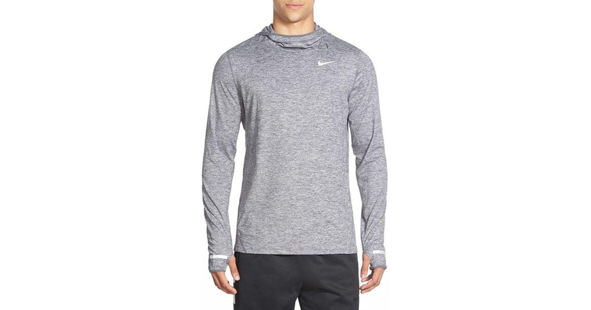 Nike Gray 'element' Dri fit Running Hoodie for men