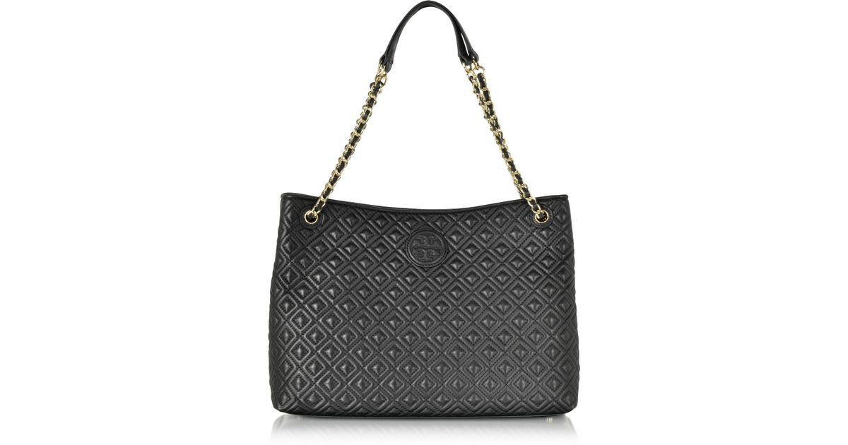 7fe6f795fb7d Tory Burch Marion Quilted Chain Shoulder Slouchy Tote Bag in Metallic - Lyst