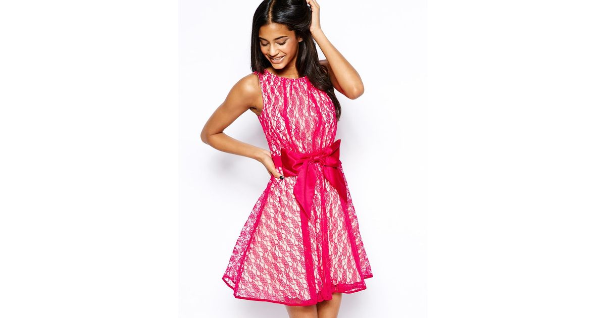 Lyst - Little Mistress Lace Prom Dress With Bow And V Back in Pink