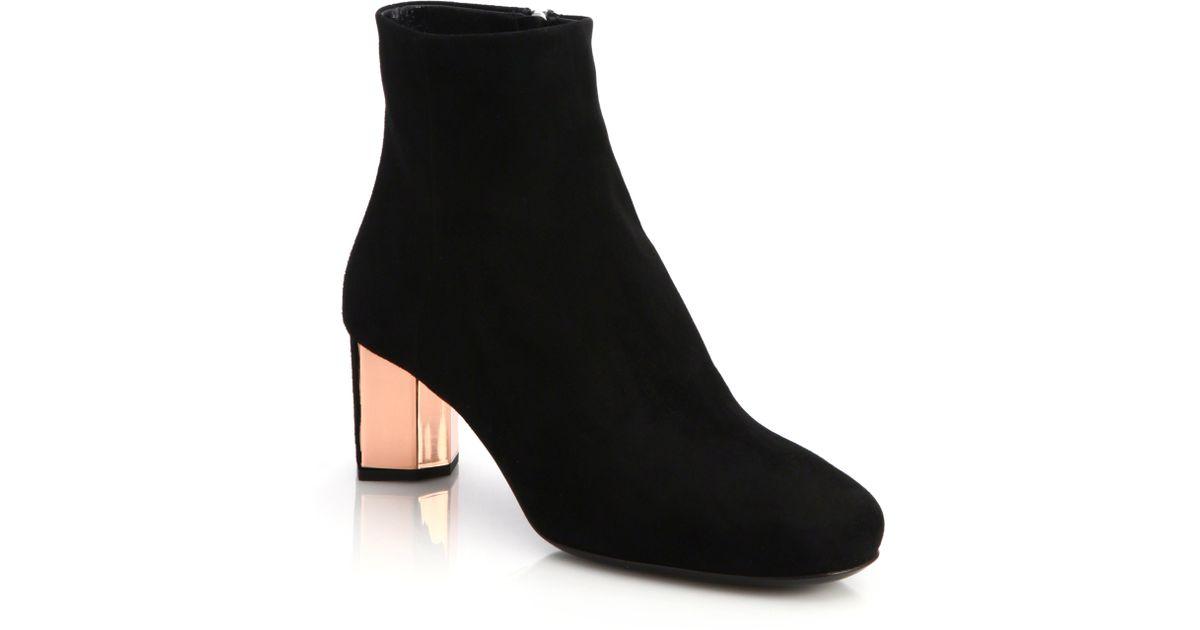 Prada Suede Metal-heel Ankle Boots in