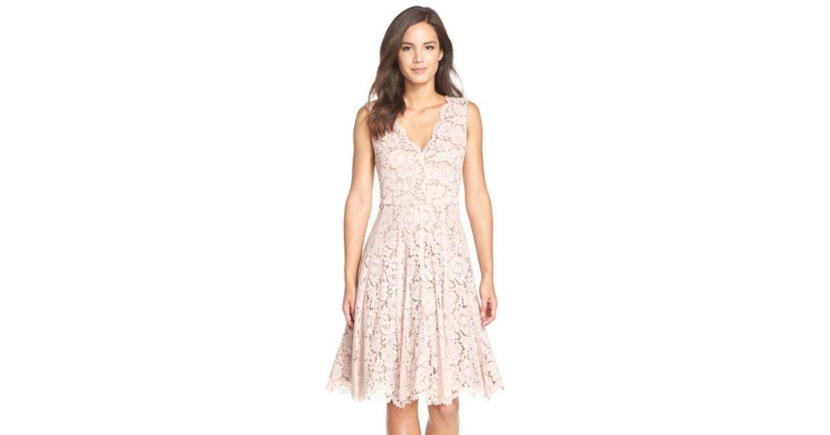 Vera Wang Pink Lace Fit Flare Dress