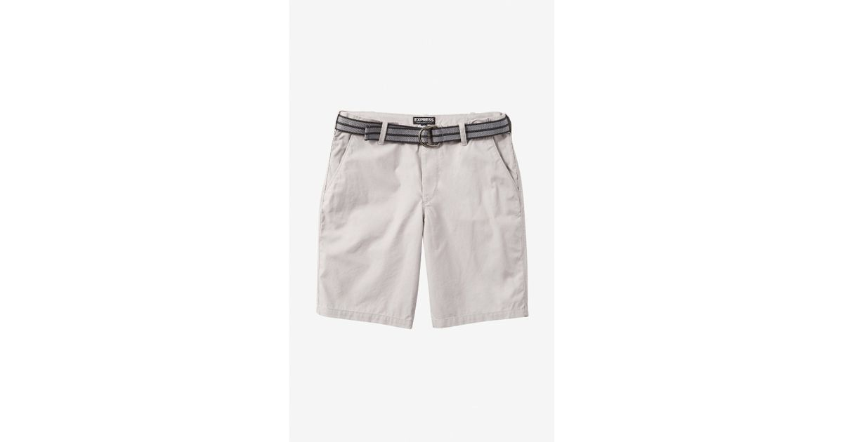 cafef162d5 Lyst - Express 10 Inch Belted Lennox Shorts in Metallic for Men
