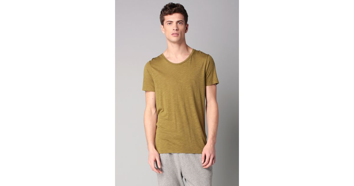 american vintage sleeve t shirt in green for