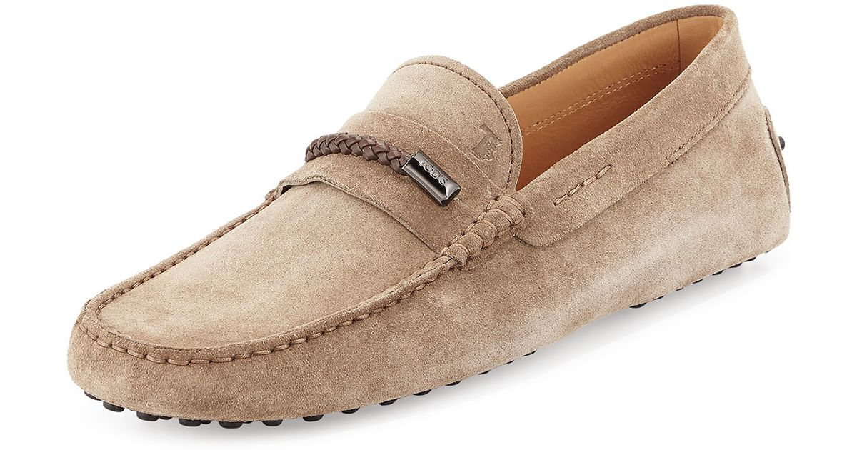 Lyst - Tod's Gommini Suede Driving Shoes in Natural