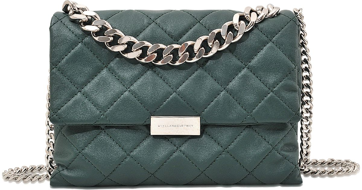 1ee57635cc33 Stella McCartney Quilted Soft Beckett Medium Shoulder Bag in Green - Lyst