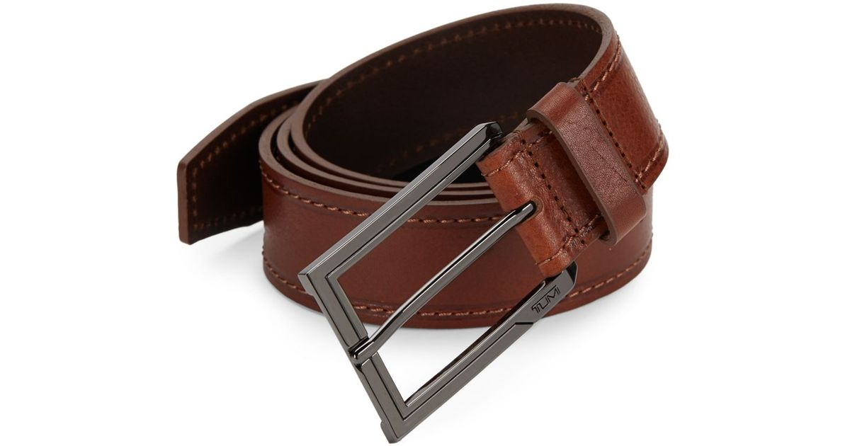 tumi stitched leather belt in brown for lyst