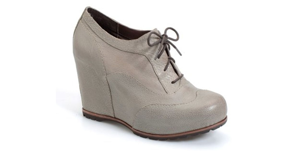 kork ease gwenda wedge boot in gray leather lyst