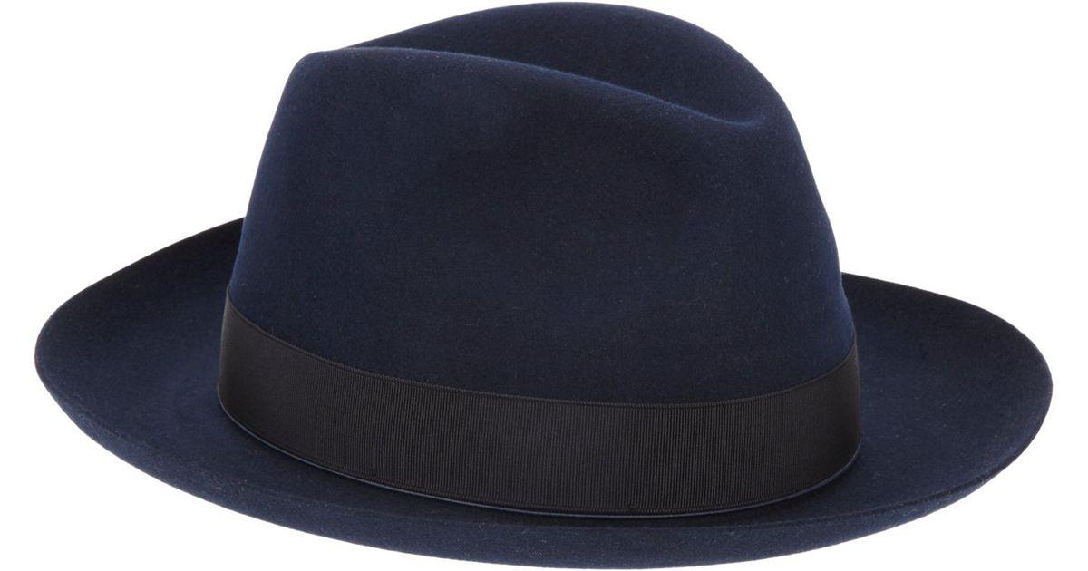 db2b46c2b1905 Borsalino Rabbit Fur Felt Fedora in Blue for Men - Lyst