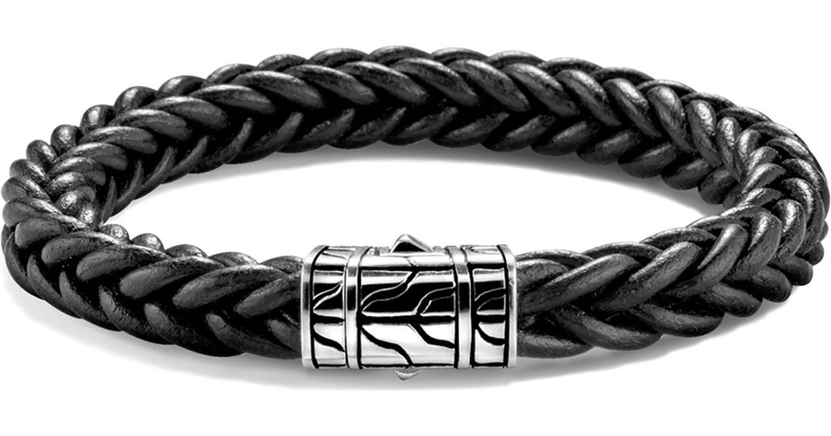 227e0f08deb74 John Hardy Limited Edition Classic Chain Sterling Silver Braided Bracelet  In Black Leather for men
