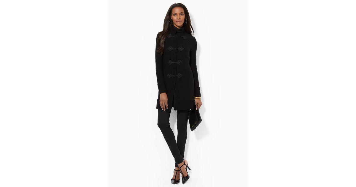 cf4abb2850cb Lyst - Lauren by Ralph Lauren Wool-Blend Mockneck Coat in Black