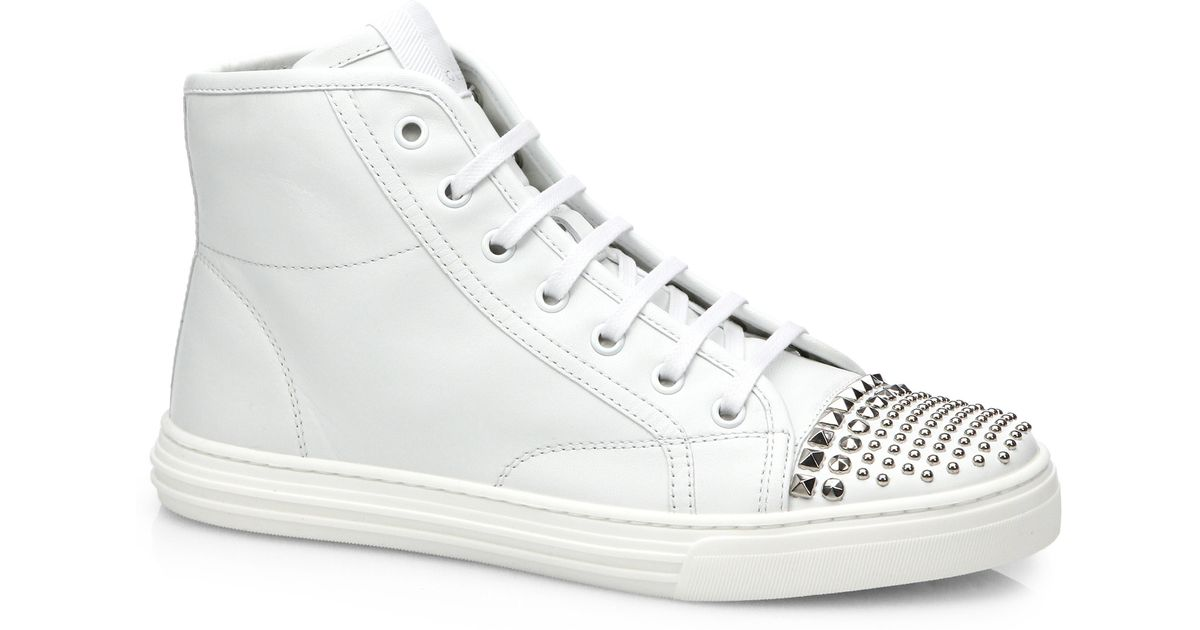 gucci california stud high top leather sneakers in white for men lyst. Black Bedroom Furniture Sets. Home Design Ideas