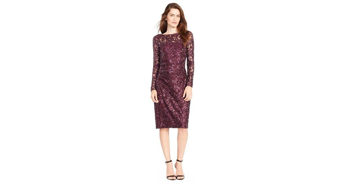 ralph lauren plaid handbags lauren ralph lauren petite sequined lace sheath dress