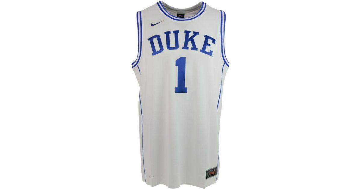 buy popular cfbfe 8d06f Nike White Mens Duke Blue Devils Authentic Tourney Basketball Jersey for men