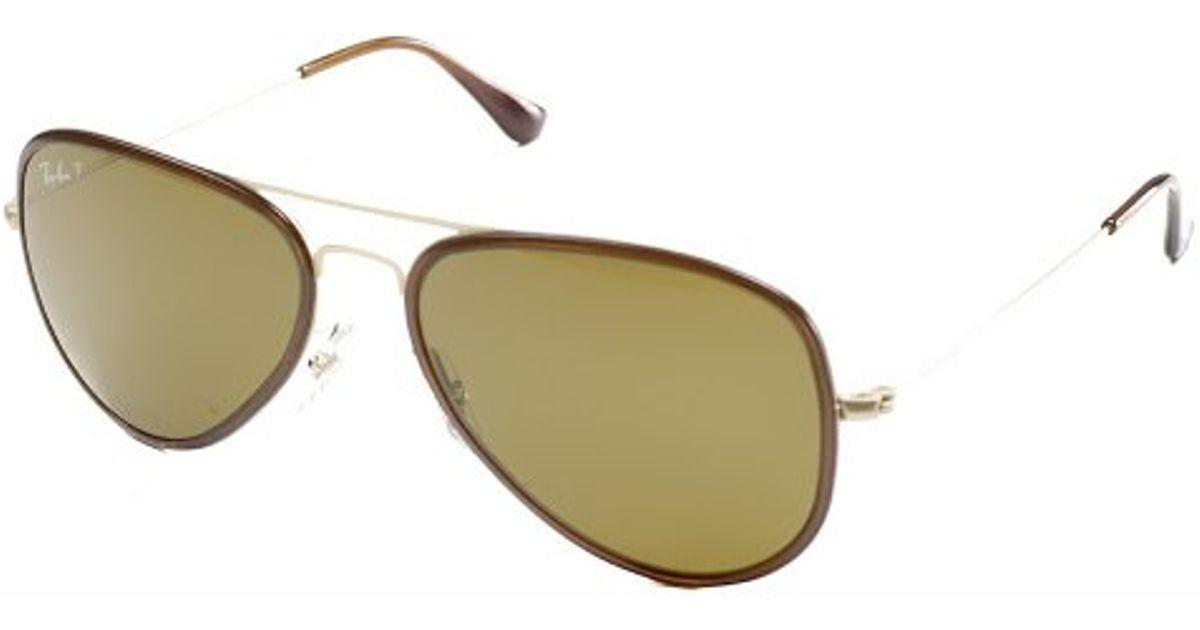 6f07c5ac5f ... spain lyst ray ban ray ban rb3513m aviator flat metal 149 83 sand gold  brown sunglasses