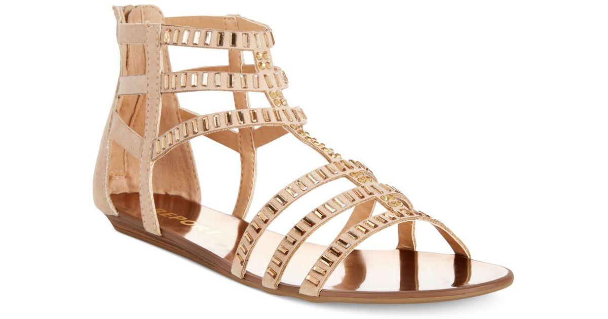 2035ded5fa8c77 Lyst - Report Layshia Rhinestone Gladiator Sandals in Natural