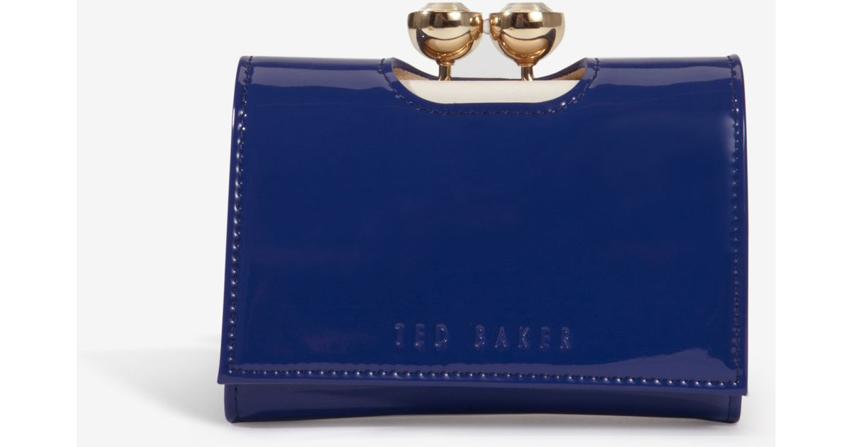 605345c162b10 Lyst - Ted Baker Shyla Crystal Bobble Small Patent Leather Purse in Blue