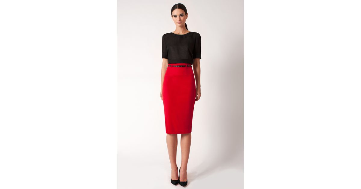 93be970f3e Black Halo High Waist Pencil Skirt *online Exclusive* in Red - Lyst