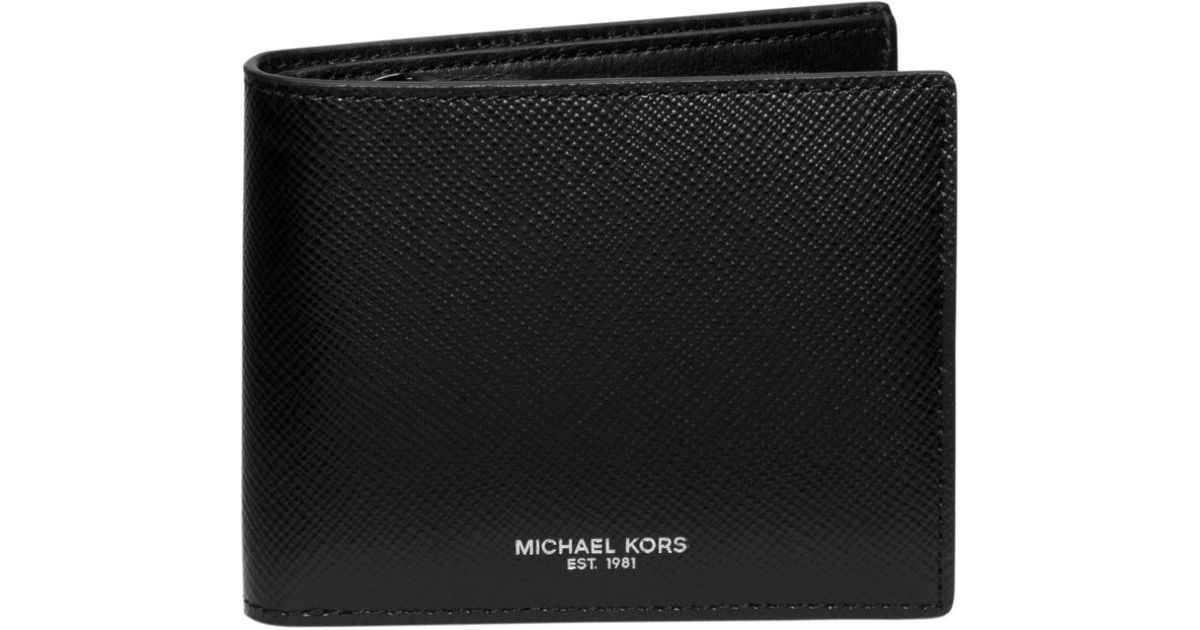 3cc872f1f475 Michael Kors Harrison Coin-pocket Leather Billfold Wallet in Black for Men  - Lyst