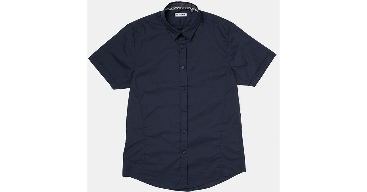 1e14117a408b The Idle Man Short Sleeve Shirt Navy in Blue for Men - Lyst