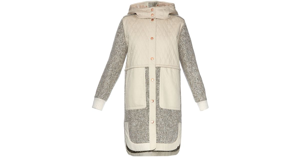94dafb0e12 See By Chloé Gray Panelled Wool-blend Coat