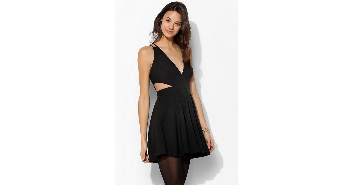 f6b1442f43d5 Lyst - Urban Outfitters Sparkle Fade Deepv Cutout Skater Dress in Black