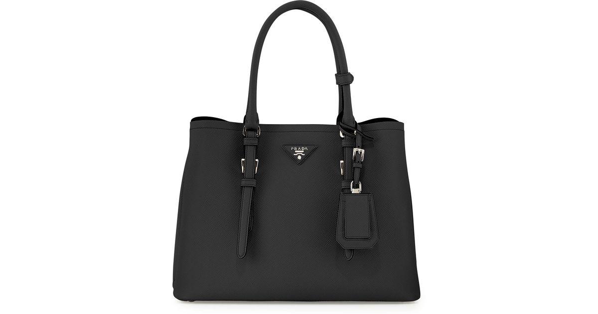 ec3546847922 ... spain lyst prada saffiano cuir covered strap double bag in black 133e8  e6792