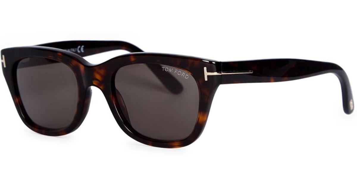 6fb8e71b8e Tom Ford Snowdon Tortoiseshell Wayfarer-style Sunglasses in Brown - Lyst