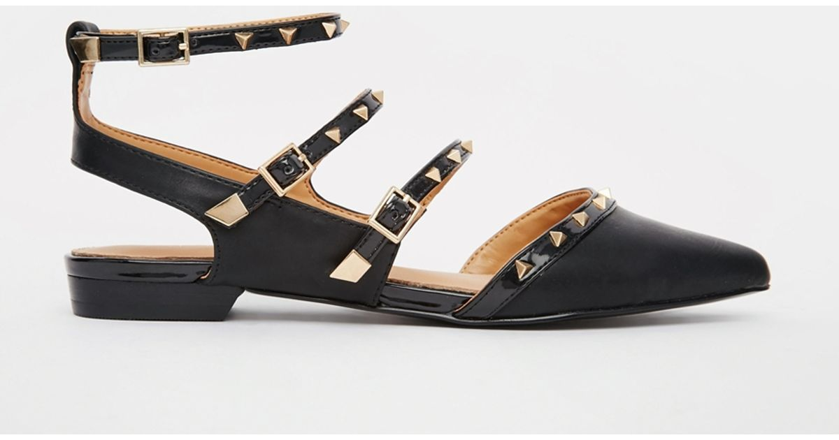 Aldo Zerah Black Studded Flat Black Shoes