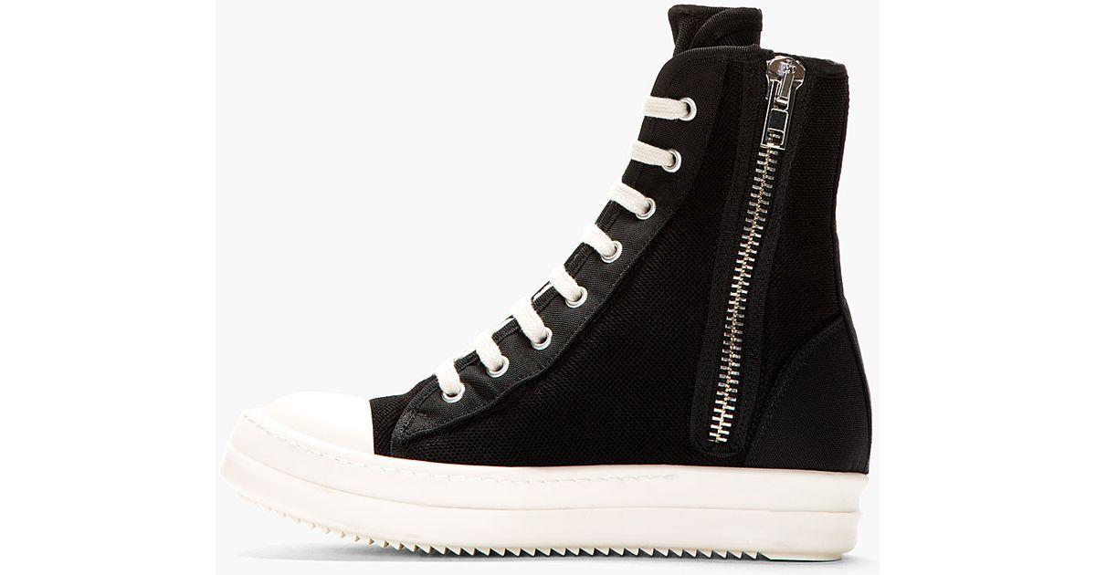 lyst drkshdw by rick owens black mesh ramones sneaker in black