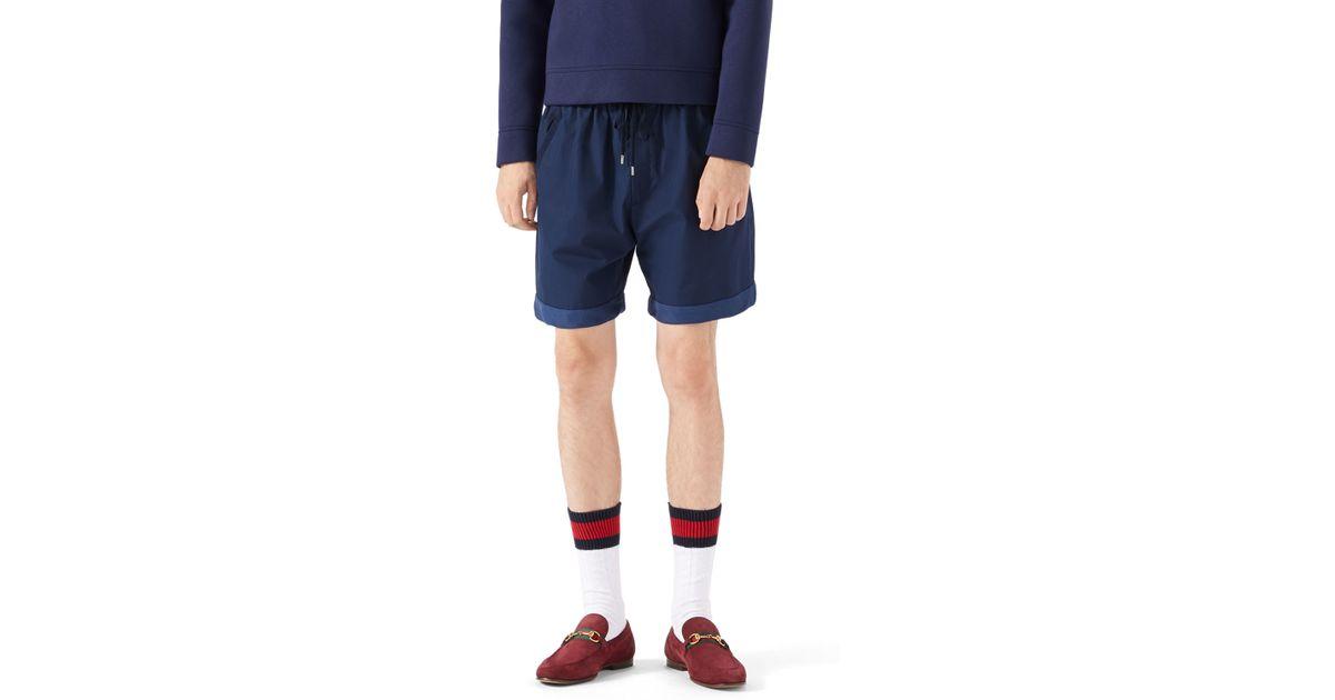 83d73132ce Gucci Blue Cotton Socks W/web Cuff for men