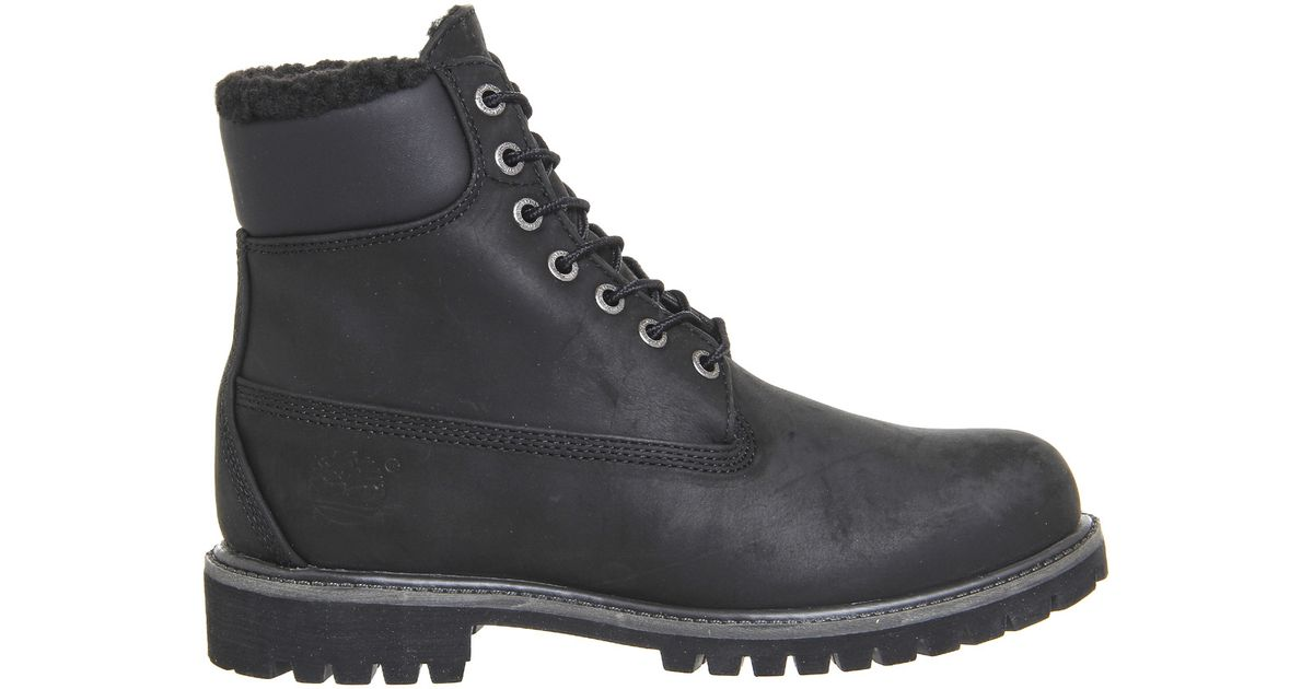 timberland premium 6 inch warm lined boots in black for