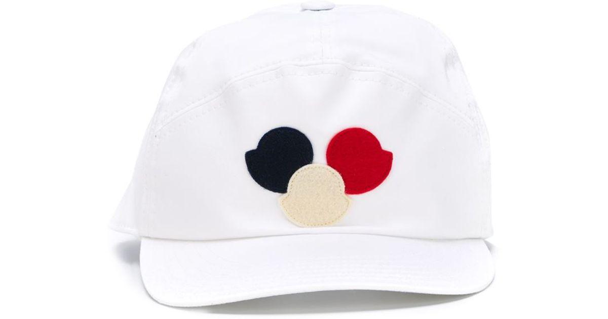 Lyst - Moncler Logo Patch Cap in White for Men 002ff403c3d