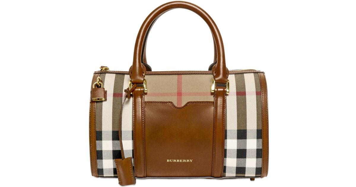 35e1c82fe978f1 Lyst - Burberry Medium Alchester Bridle House Check Bag in Brown