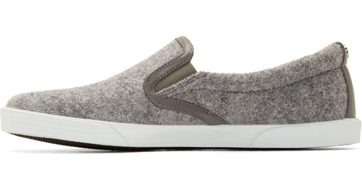 d0af3c12602f Lyst - Jimmy Choo Grey Felt Slip on Demi Sneakers in Gray
