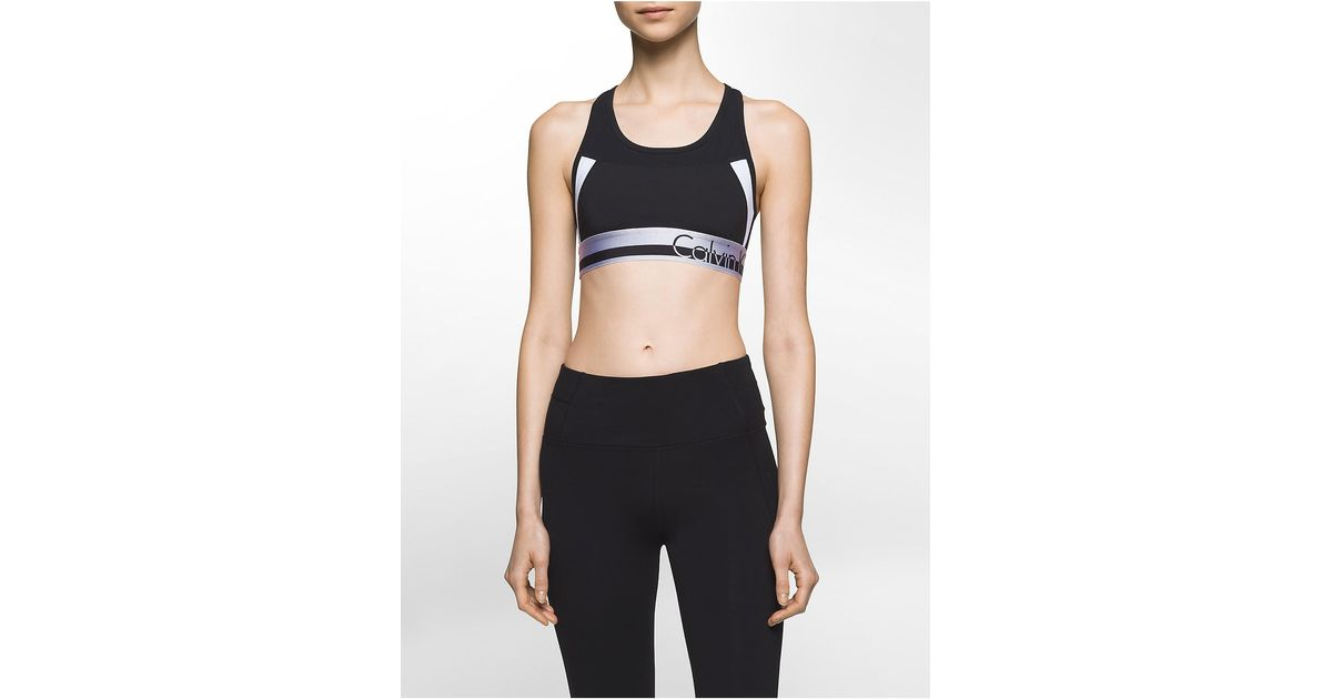 calvin klein performance colorblock logo sports bra lyst. Black Bedroom Furniture Sets. Home Design Ideas