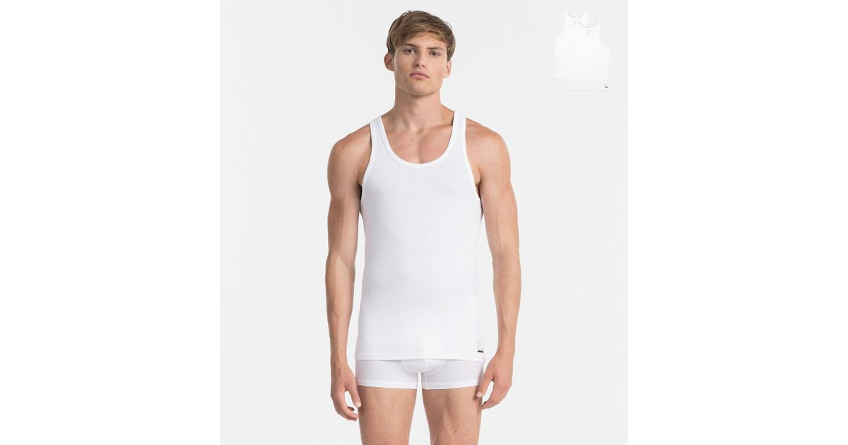 70e014b5e0 Calvin Klein 2 Pack Tank Tops - Id in White for Men - Lyst