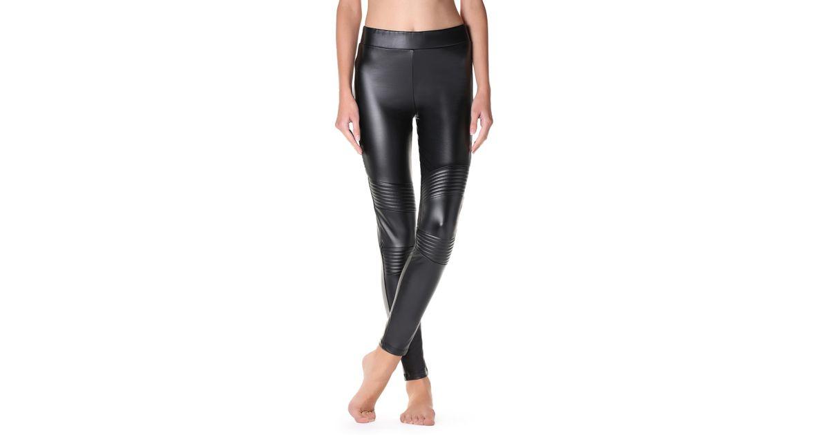 fadfe609b60c01 Calzedonia Thermal Leather-effect Biker leggings in Black - Lyst