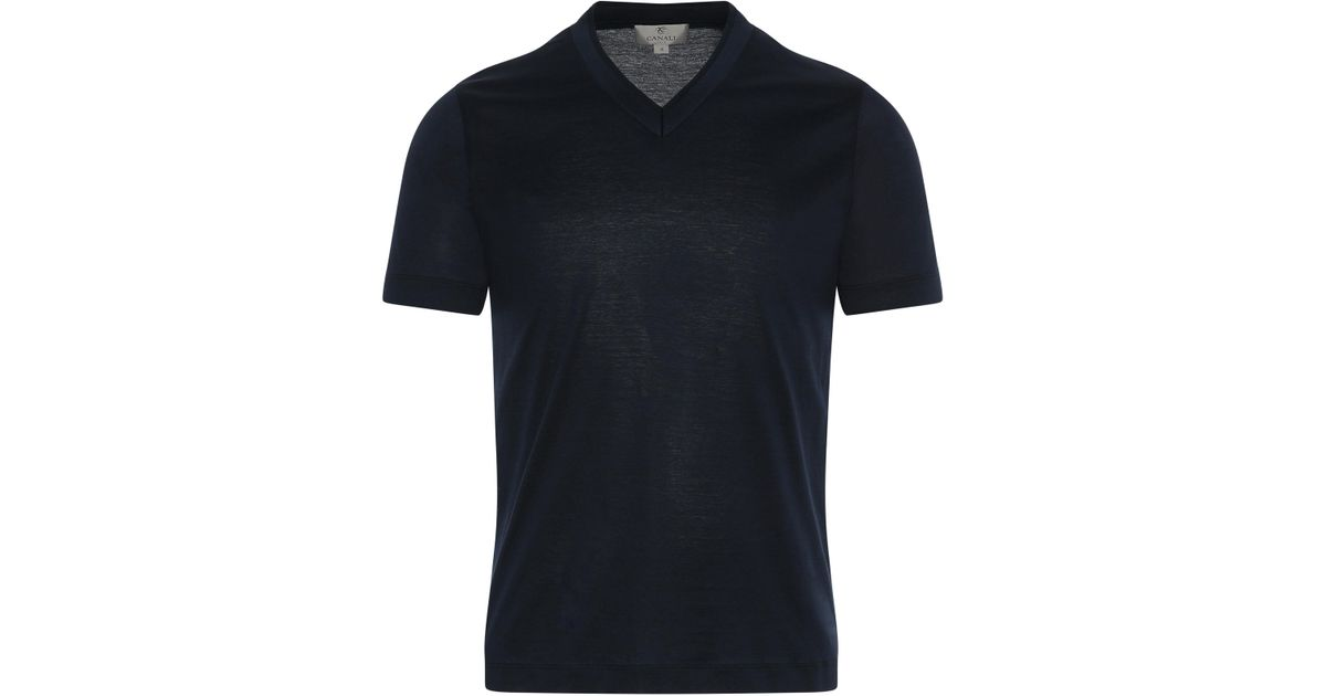 7ce03414484 Canali Midnight Blue Mercerized Cotton V-neck T-shirt in Blue for Men - Lyst
