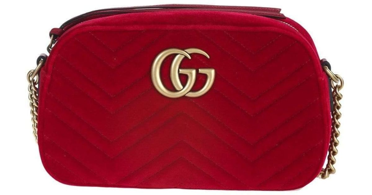 8b8499bc8 Lyst - Gucci Small Shoulder Bag Gg Marmont In Soft Velvet Matelassé With Chevron  Pattern in Red