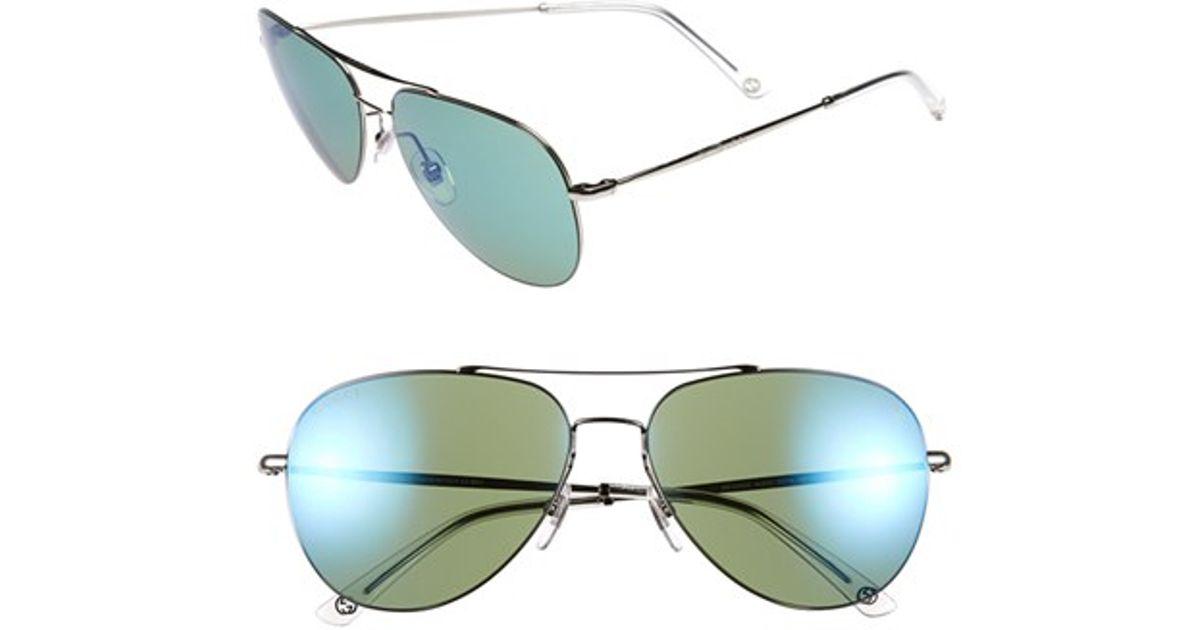 e7c1aba459 Lyst - Gucci 59mm Aviator Sunglasses - Ruthenium in Metallic for Men