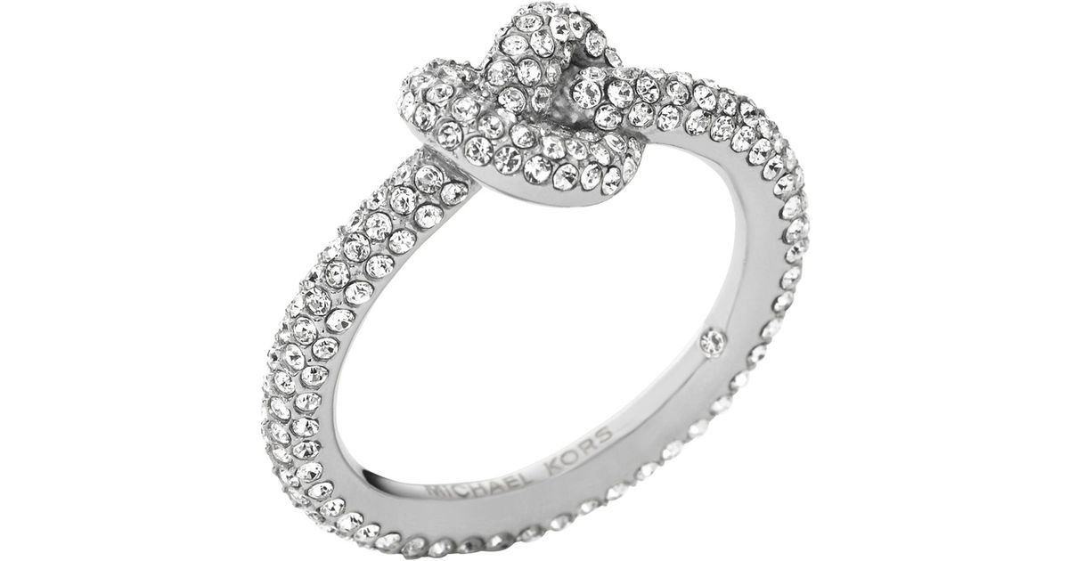 Michael Kors Pave Knot Ring In Silver Metallic Lyst