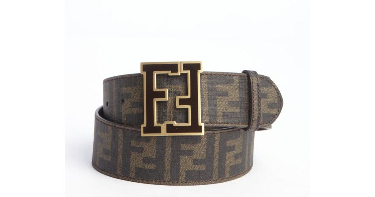 569e894a9f08 ... france lyst fendi tobacco zucca spalmati and brown logo buckle belt in  brown for men 03b18