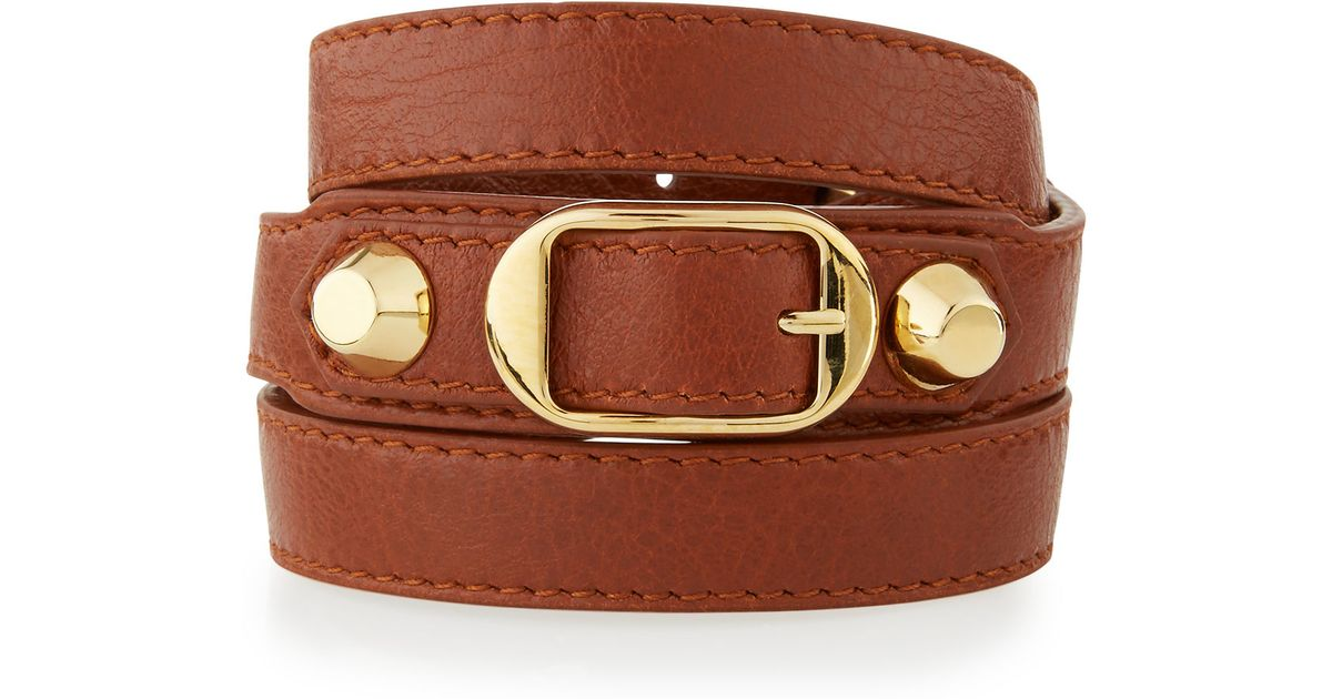 Balenciaga Brown Clic Leather Wrap Bracelet