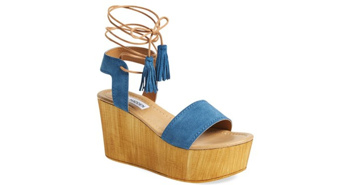65f6043c76d Steve Madden Blue Shannon Suede Wedge Sandals