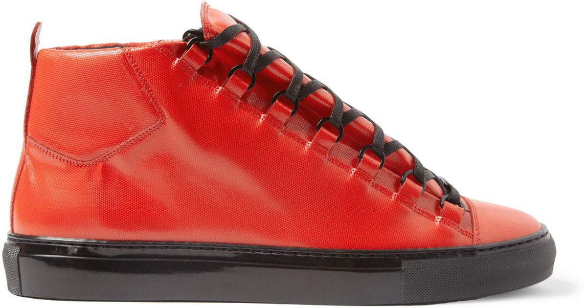 ca6e4863fd8a Lyst In Men Balenciaga For Arena Hightop Red Sneakers T8TSnqr