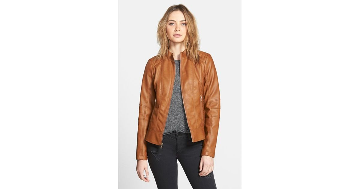 b4b81a35 Guess Faux Leather Scuba Jacket in Brown - Lyst