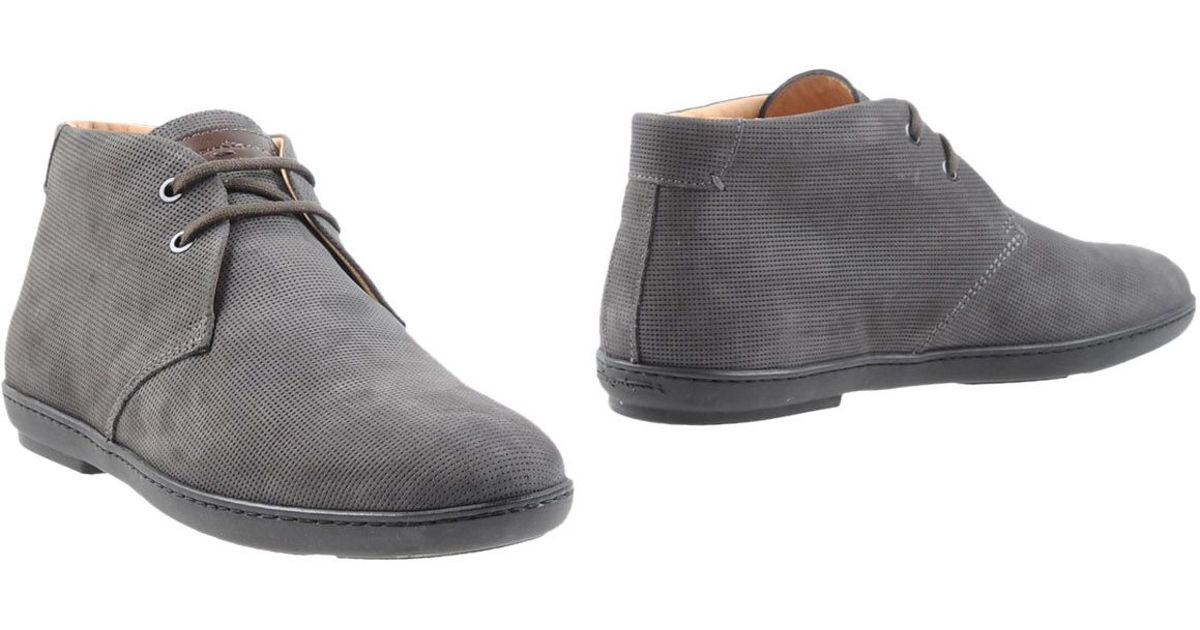 santoni ankle boots in gray for lyst