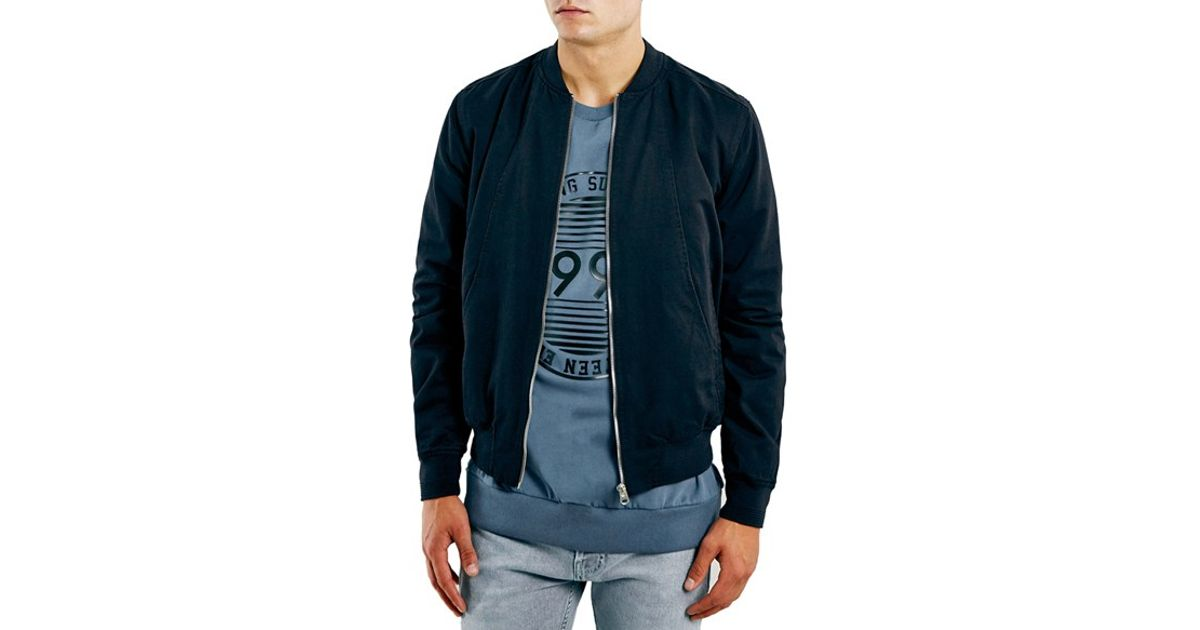 6a9adc4ce TOPMAN Blue Navy Cotton Bomber Jacket for men