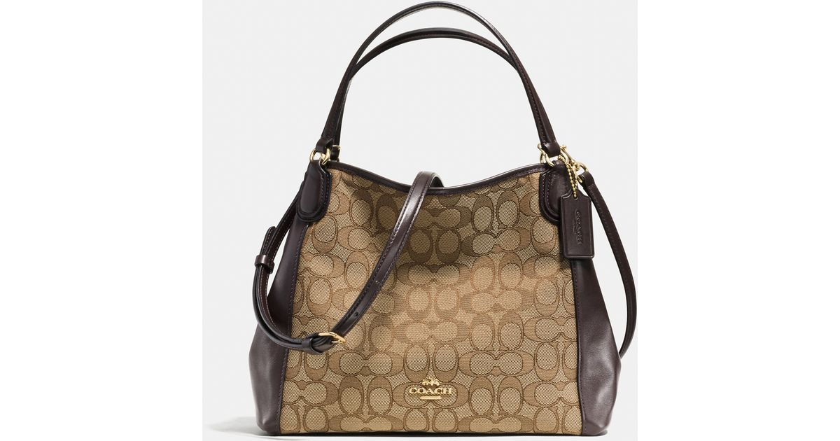 Coach Brown E 28 Jacquard And Leather Shoulder Bag