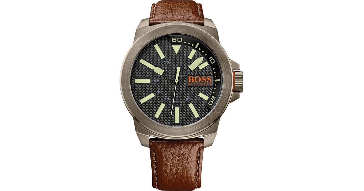 8484a96cbc2 Lyst - BOSS Orange Hugo Boss Men s New York Brown Leather Strap Watch 53mm  1513168 in Orange for Men